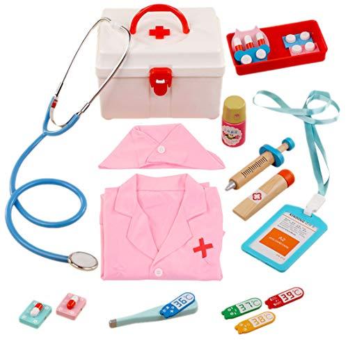 MAJOZ0 18 Piezas Doctora Juguetes de Madera, Maletin Medicos Juguetes, Dentista Enfermera Juguetes de rol Kit Regalo para Nios