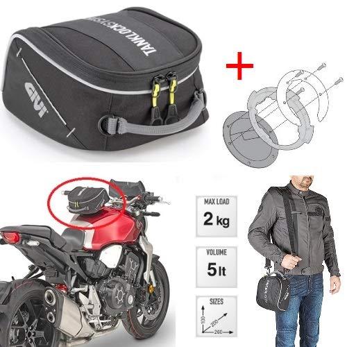 para Kawasaki Versys 650 Tourer ABS 2012 12 Bolsa para depósito Moto Givi EA123 + BF04 con Brida específica Tanklock Mochila de 5 l con Correa y asa Impermeable
