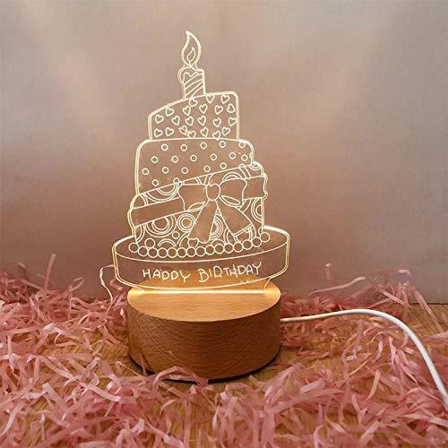 Luz de Noche Creativa led Madera Maciza lámpara de Mesa 3D Regalos electrónicos de Boutique de Gama Alta Pastel de cumpleaños al por Mayor Modelos de Enchufe de Tres Colores (4W)