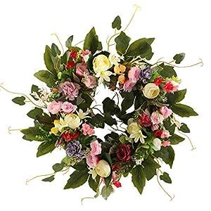 diveimai Artificial Camellia Spring Flower Wreath Large Decoration for Wedding Front Door Easter Wreath Decor for Front Door, Easter Front Door Wreath