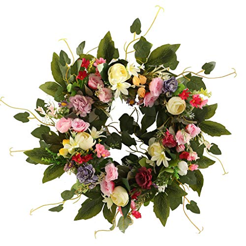 Artificial Color Camellia Wreath Spring Summer Faux Floral,19.6 Inch Wreath Front Door Hanging Garland for Indoor Outdoor Home Wedding Window Wall Decoration