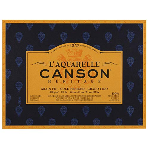Canson Heritage Watercolour Pad, Glued on 4 Sides, 20 Sheets, fine Grain Fine Grain 23 x 31 cm