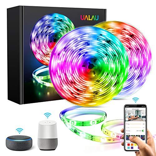 10M Striscia LED Alexa, UALAU Smart Strisce LED Compatibile con Alexa Echo / Google Home, Sync con Musica Luci LED Impermeabile IP65 con 300 LEDs 5050 SMD per TV, Stanza da letto, Feste Decorazioni