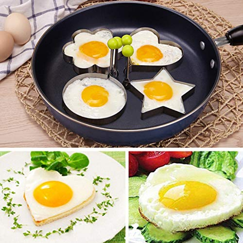 4Pcs/Set Stainless Steel Omelette Fried Egg Frying Mold Love Flower Round Star Molds Kitchen Cooking Tools