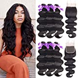 Beaudiva Hair Brazilian Human Hair Body Wave 3 Bundles with Closure (20 22 24+18 Free Part) Unprocessed Brazilian Body...