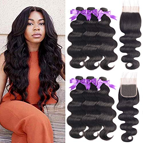 Beaudiva Hair Brazilian Human Hair Body Wave 3 Bundles with Closure (20 22 24+18 Free Part) Unprocessed Brazilian Body Wave Human Hair Double Weft with Lace Closure 44 Free Part