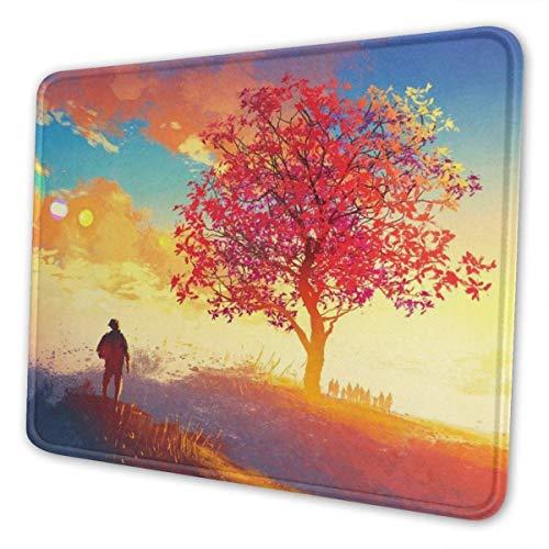 Mouse Pad Herbst Landschaft Baum Berg Schule Bunte Benutzerdefinierte Spielmatte Rutschfeste Mousepad Gummi Schreibtisch Dekor Rechteck Computer Laptop Bürozubehör 3 Größen 25X30cm