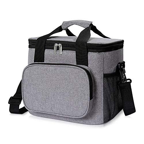 Cooler Bag 15L (24 latas Bag Bolsa de Almuerzo de Picnic con Aislamiento portátil a Prueba de Fugas Gran Lado Suave para Exteriores/Camping/Barbacoa/Viaje, Gris