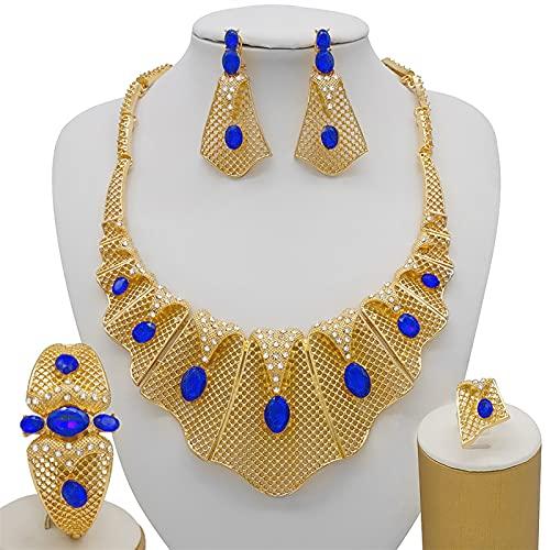 ABCBCA Juego de joyería Nupcial Conjuntos de joyería de Oro for Mujeres Pendientes de Piedra roja Grande Collar de joyería Colgante Pendientes (Metal Color : CJ1037-2)