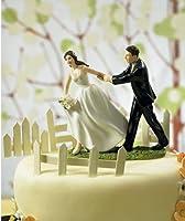 """""""花嫁、 どこ に行く 「 エスケープ花嫁面白い ウエディングケーキトッパー置物ウェディング ケーキ の装飾付き無料市平"""