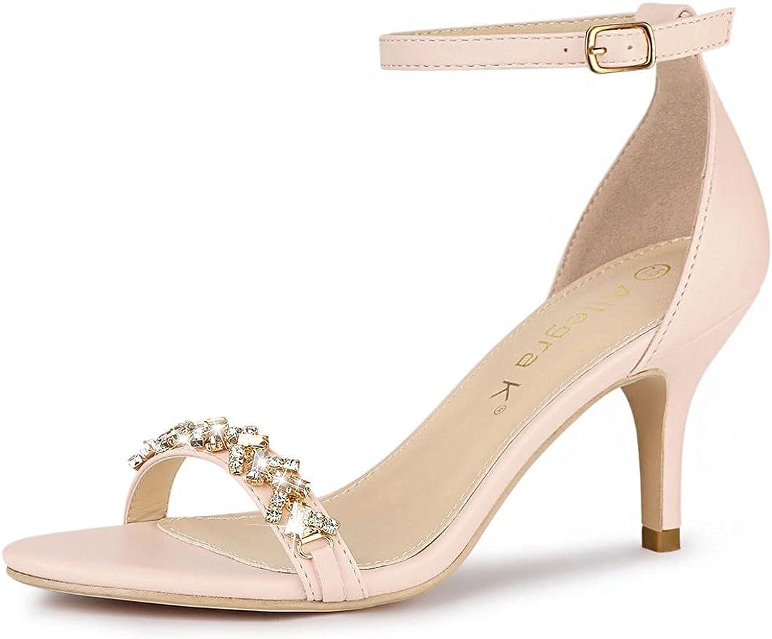 Allegra K Women's Rhinestone Stiletto Heels Ankle Strap Heeled Sandals