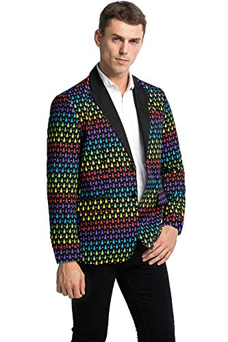 U LOOK UGLY TODAY - Chaqueta de fiesta para hombre, chaqueta Sakko Blazer para Navidad, disfraces, chaqueta festiva con divertidos patrones multicolor árbol de navidad XL