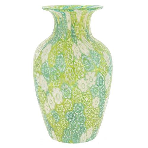 GlassOfVenice Murano Glass Golden Quilt Millefiori Urn Vase - Green