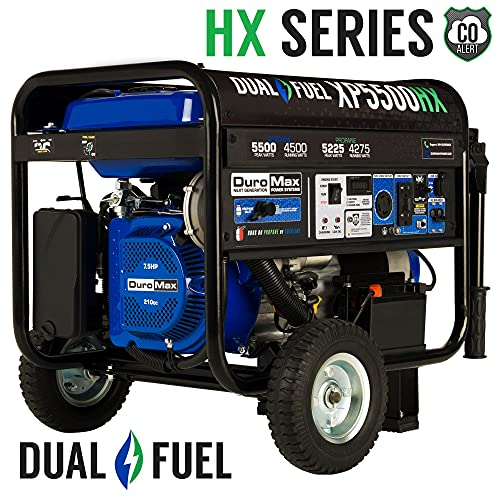 Dual Fuel Portable Generator-5500 Watt Gas or Propane Powered Electric Start w/CO Alert, 50 State Approved, Blue - DuroMax XP5500HX