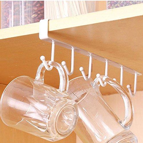 Fashionwu Metal Traceless Kitchen Cup Holder Hang Cabinet Shelf Storage Rack Organizer 6 Hooks