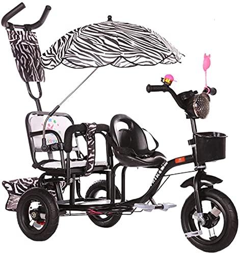 Cochecitos para bebés Triciclo para niños Twin Stroller Second Child Bicicleta de tres ruedas Cochecito infantil Gran cochecito ajustable Carrito de bebé (Color : Black)