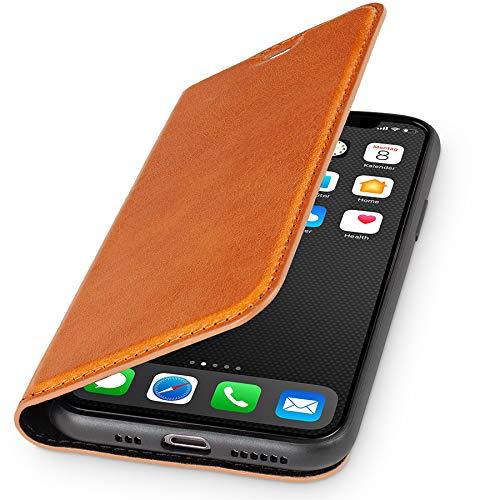 WIIUKA Echt Ledertasche - TRAVEL - Hülle für Apple iPhone 11, Kartenfach, extra Dünn, Tasche Cognac Braun, Premium Leder, kompatibel mit iPhone 11