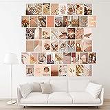MOSNOW 50 Stück Ästhetisches Wandcollage Set, Beige Bilder Wand Collage Kit Collagenposter Warme Ästhetik Room Decor Wandbilder Wohnzimmer, mit Verpackungsbox und Nicht Abfärbendem Kleber