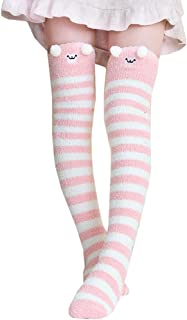 Girl's Leg Warmers Soft Warm Animal Coral Fleece Thigh High Long Striped Socks, Best Christmas Gift