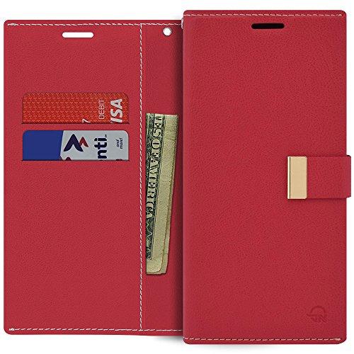 Qoosan LG Q7 Hülle, LG Q7 Plus Wallet Hülle, Premium PU Leder Faltbare Flip Cover mit Kartenhalter Kickstand Magnetverschluss Stoßfest Schutzhülle Folio Handyhülle Rot