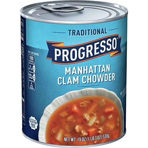 Progresso Soup, Traditional, Manhattan Clam Chowder Soup, Gluten Free, 19 oz Cans (Pack of 6)