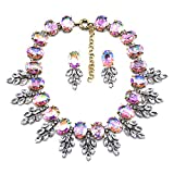 Zthread Luxury Colorful Crystal Statement Necklace Leaf Pendant Choker Eveing Dress Bridal Jewelry Necklace Earrings Set for Women (Pink)