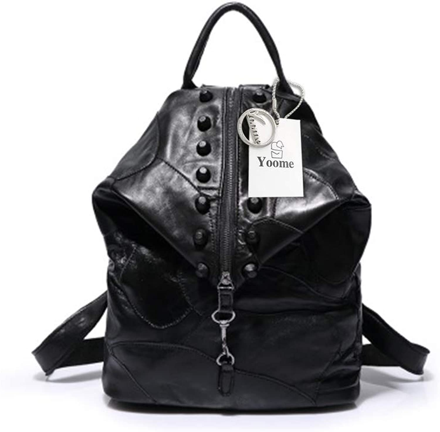 Yoome Patchwork Leather Backpack for Women Fashion Rivets Travel Bag Leisure Daypack