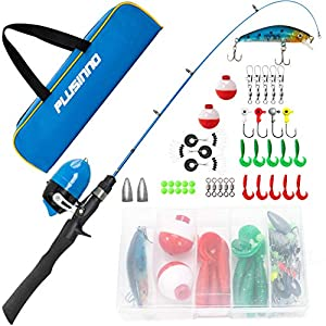 PLUSINNO Kids Fishing Pole with Travel Bag, Telescopic Fishing Rod and Reel Combos with Spincast Fishing Reel Full Kits for Kids,Boys,Youth Fishing (Black Handle with Spincast Reel, 115CM 45.27IN)