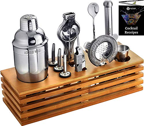 Mixology Bartender Kit with Stand - Bar Tool Set Cocktail Shaker Set - Bar Tools Home Bartending Kit W/Receipes Booklet - Best Bartender Kit Gift for Drink Mixing (Cocktail Shaker Set With Stand)
