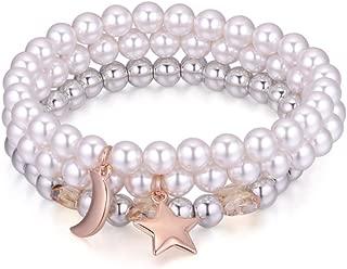 NEVI Multi Strand Moon Star Pearl Crystals from Swarovski Rose Gold Bracelet for Women & Girls