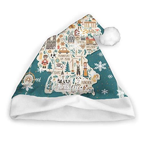 ZVEZVI Mapa estilizado Alemania Viajes Arquitectura Monumentos Gorro de Pap Noel Gorro de Pap Noel de Navidad Peluche Corto con puos Blancos Gorro de Navidad de Tela de Felpa para Adultos