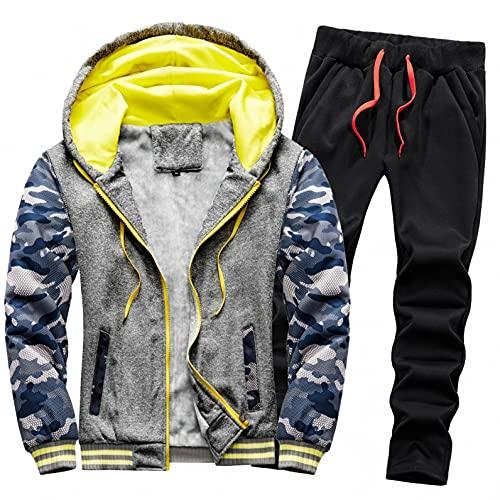 URIBAKY - Disfraz de camuflaje para hombre, talla grande, chaqueta de cazadora gruesa, ms gruesa, ms terciopelo, gris oscuro, M