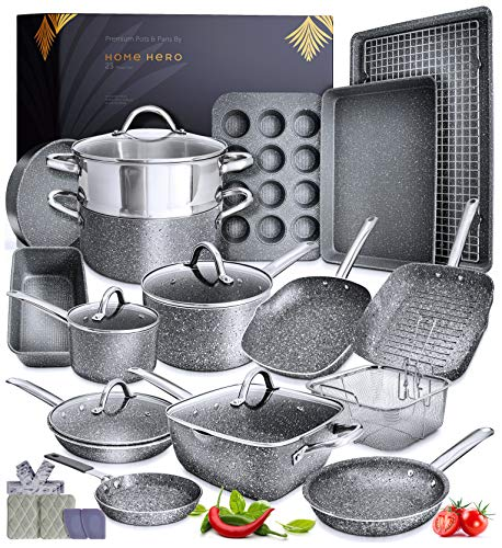 Granite Cookware Sets Nonstick Pots and Pans Set Nonstick  23pc Kitchen Cookware Sets Induction Cookware Induction Pots and Pans for Cooking Pan Set Granite Cookware Set Non Sticking Pan Set