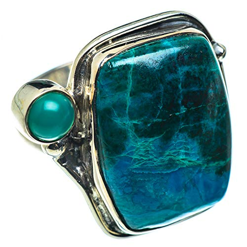 Ana Silver Co Chrysocolla, Green Onyx Ring Size P 1/2 (925 Sterling Silver)