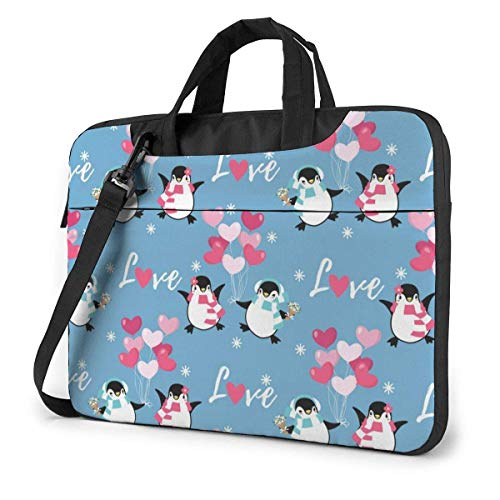 Hdadwy Valentine's Day Penguin Love Heart Shape Pattern Adults Student Laptop Bag Anti-Collision Notebook Computer Protective Cover Anti-Scratch Handbag Shoulder Bag for School College(2 Pocket) 14inc