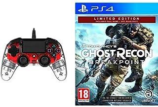 Nacon Compact Controller Luminosi, Rosso - Classics - PlayStation 4 + Ghost Recon Breakpoint - Limited [Esclusiva Amazon]