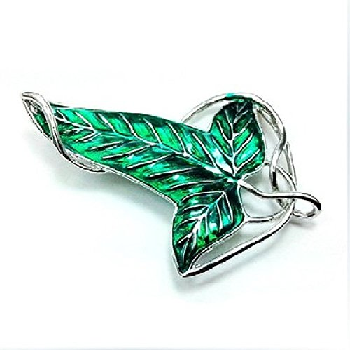 TR.OD Statement Necklace Collar Lord of The Rings Green Leaf Elven Pin Brooch Charm Pendant Chain Cosplay Jewelry