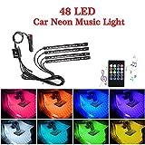 OONOL Car Interior Lights Car LED Strip Light, 4pcs 48LED 8 Colors Flexible Music Light Kit with Sound Sensor and Remote Control, DC 12V, Car Charger …
