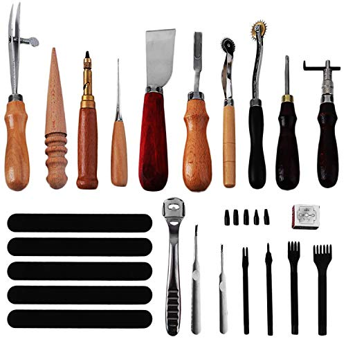 Knoweasy Leather Carft Tools Kit 18 Pcs,Leather Craft DIY Tool for Hand Sewing Stitching,Stamping Set and Saddle Making,Stitching Carving Working