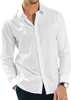 Bofo White Collar Men Office Work Shirt Long Sleeve Button Down Shirts Top Blouse