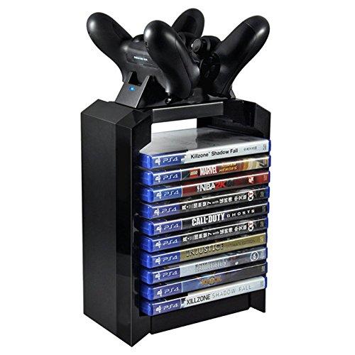 Soporte de forma de torre vertical para Disco de juego con base de carga para mando controlador doble de PlayStation 4