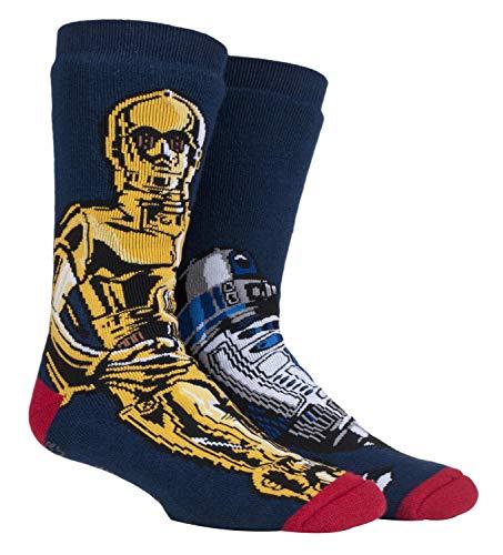 HEAT HOLDERS - Herren Thermo Winter Star Wars Socken mit Antirutsch ABS Sohle (39/45, R2D2 / C3P0)