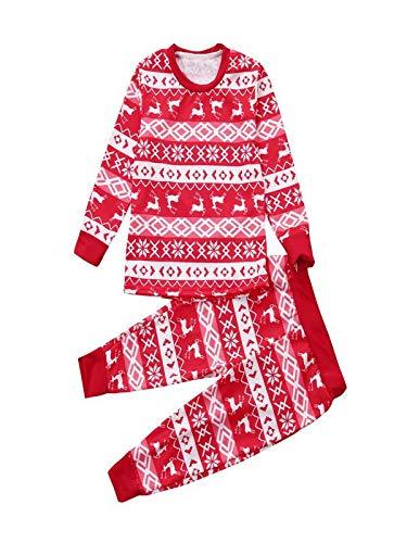 KUKICAT Pyjamas Enfant Service d'impression à Domicile Unisexe, Pull en Coton à Manches Longues et Col Rond T-Shirt en Coton à Motif Cerf de Noël Sleepwear