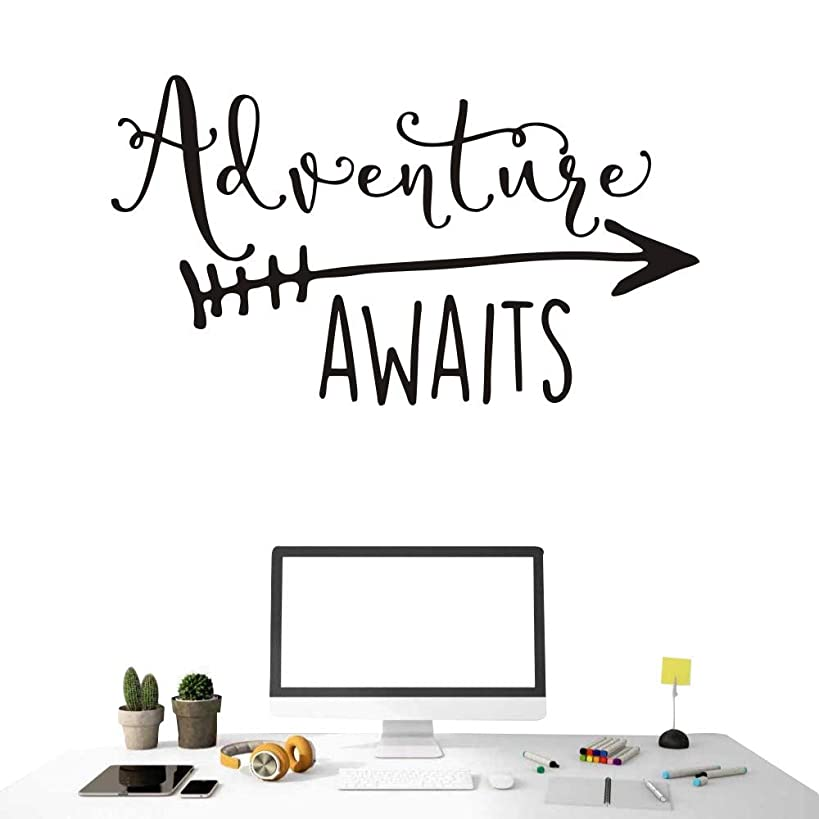 Art Travel Theme Decal Adventure Awaits Quote Arrow Vinyl Wall Decals Living Room Decor Wall Sticker Art Adventure Mural for Kids Bedroom NY-360 (Black, 57X100CM)