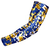 Sports Compression Arm Sleeve - Youth & Adult Sizes - Baseball Football Basketball by Bucwild Sports (1 Arm Sleeve - Yellow/Blue Camo - Youth Medium)