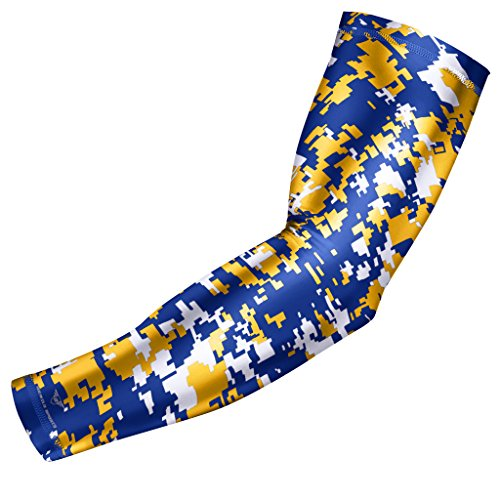 bucwild Sports Compression Arm Sleeve - Youth & Adult Sizes - Baseball Football Basketball Sports (1 Arm Sleeve - Yellow/Blue Camo - Youth Small)