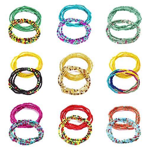 FUNEIA 18Pcs Beads Waist Chains for Women African Colorful Elastic Beaded Body Waist Belly Chain Set Summer Bikini Jewelry