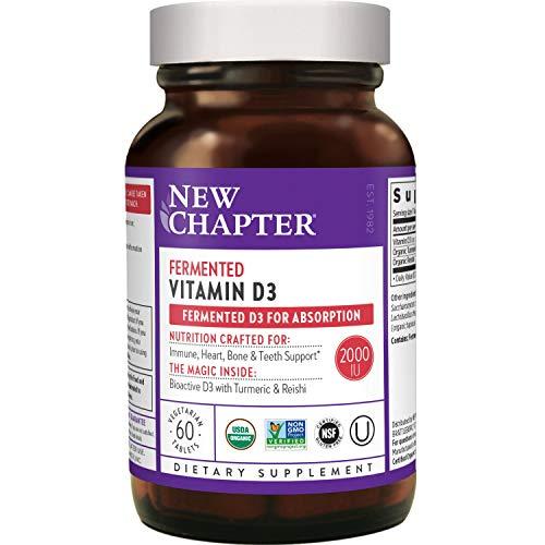 New Chapter Vitamin D3, Fermented Vitamin D3 2,000 IU, Organic, ONE Daily with Whole-Food Herbs, Adaptogenic Reishi Mushroom for Immune Support, Bone & Heart Health, 100% Vegan, Gluten-Free - 60 count