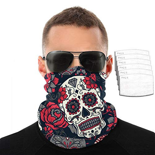 Day of The Dead Colorful Sugar Skull Bandana Cloth Face Mask Washable Face Covering Neck Gaiter Dust Mask
