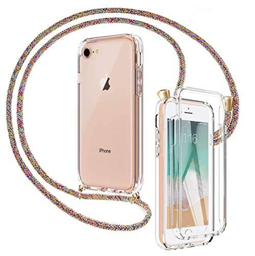 Mkej 3 en 1 Funda Colgante movil con Cuerda para iPhone SE/ 7/8 Doble Cara Carcasa Móvil de Protección 360 Grados, Protectora con Protector de Pantalla Integrado con Correa Colgante